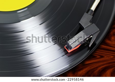 close-up of record player - stock photo