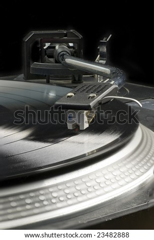 close-up of record player pick-up arm; focus stack - sharp focus from front to back - stock photo