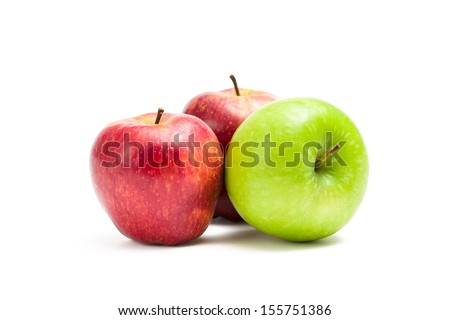 Close up of red and green apples, isolated on white. Concept of healthy eating and dieting lifestyle