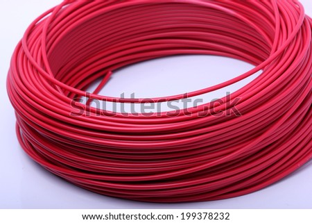 close up of red cables  - stock photo