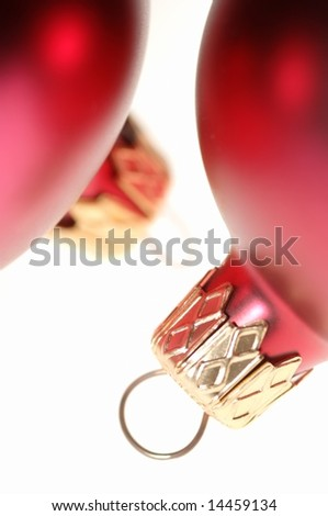 Close-up of red Christmas ball decorations - stock photo