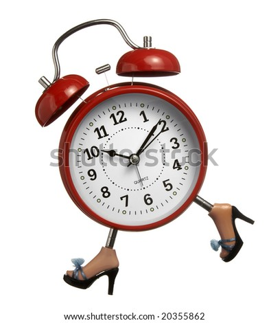 close up of red clock with legs running on white background - stock photo