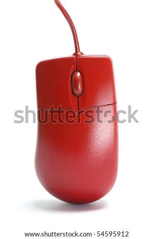 Close Up of Red Computer Mouse - stock photo