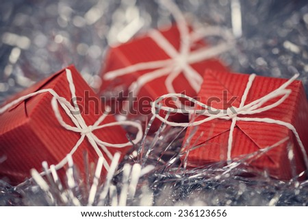 Close up of red gift boxes in abstract Christmas decoration
