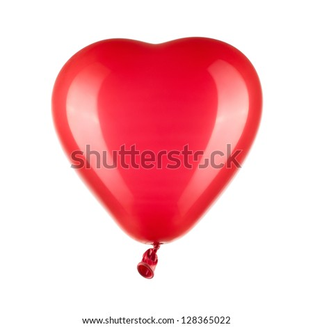 Close up of red heart shaped balloon isolated on white background with clipping path - stock photo