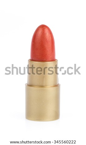 close up of red lipstick isolated on white background