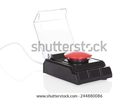 Close-up Of Red Push Button Over White Background