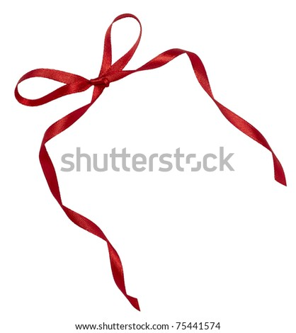 close up of   red ribbon on white background  with clipping path - stock photo