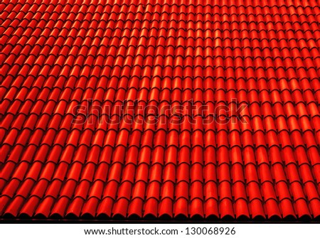 close up of red roof texture tile - stock photo