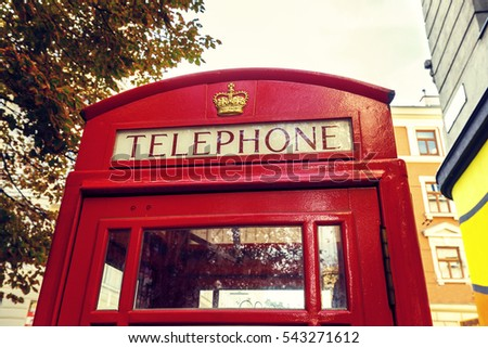close up of red telephone booth, symbol of London