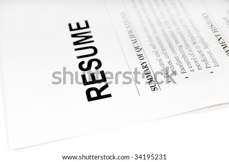 close up of resume form on white - stock photo