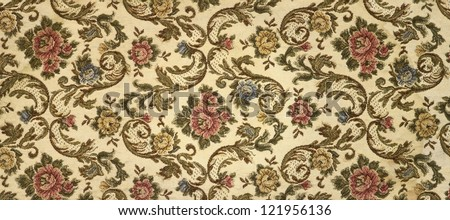 Close up of retro tapestry fabric pattern - stock photo