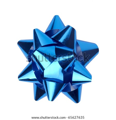 close up of  ribbon bow on white background - stock photo