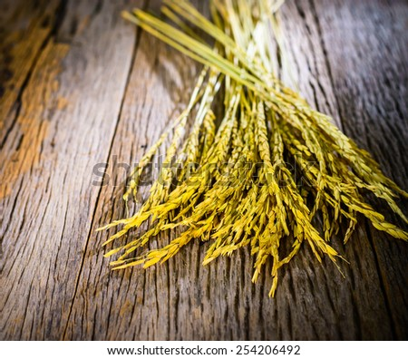 close-up of rice straw and rice grain on old wood - stock photo