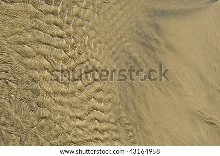 Close up of rippling water on sand