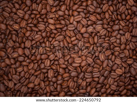 Close up of roasted coffee beans texture - stock photo
