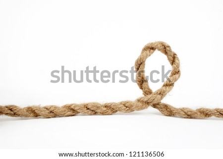 close up of rope part with a loop, on white background