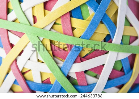 Close Up Of Rubber Band Ball - stock photo
