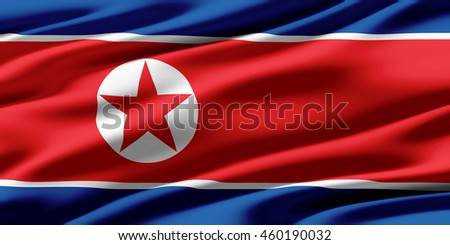 Close-up of ruffled flag of North Korea, background texture (High-resolution 3D CG rendering illustration)