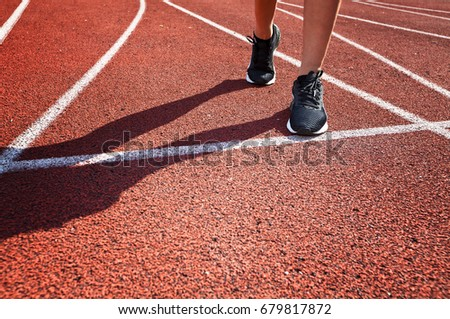 Close up of running shoes in use.Woman fitness  jog workout welness concept