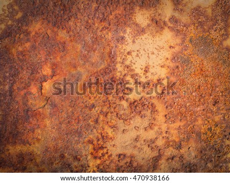 Close up of rusty metal plate background.