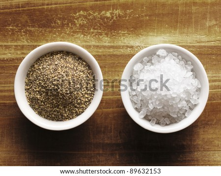 close up of salt and pepper - stock photo