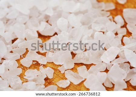 Close-up of salt grains - stock photo