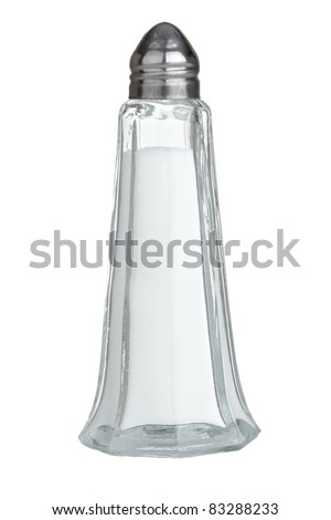 close up of  salt shaker on white background with clipping path