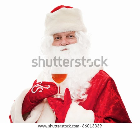 Close up of Santa Claus with a glass of wine isolated on white - stock photo