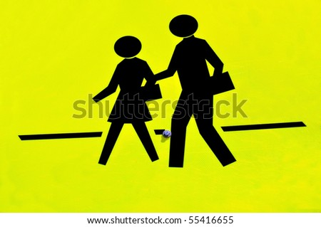 Close up of school crossing sign - stock photo