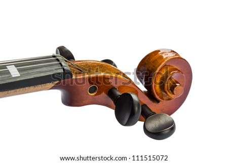 Close up of scroll and pegbox of violin, isolated on white background