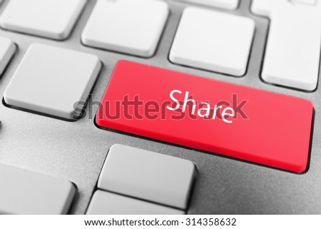Close up of Share keyboard button - stock photo