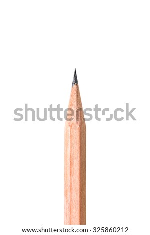 Close up of sharp pencil point isolated on white background