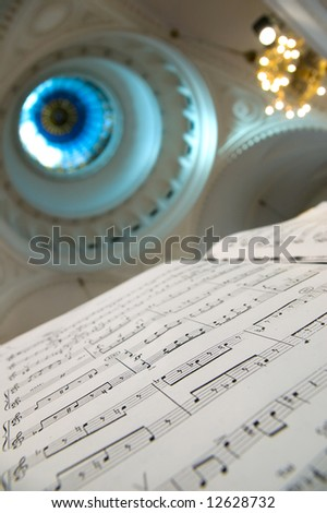 Close-up of sheet music - music notes - stock photo