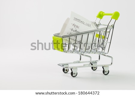 Close up of shopping list inside cart on white background - stock photo