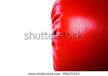 Close Up of Side Left Right Boxing Gloves Red Leather Isolated on white for background, wallpaper or texture. - stock photo