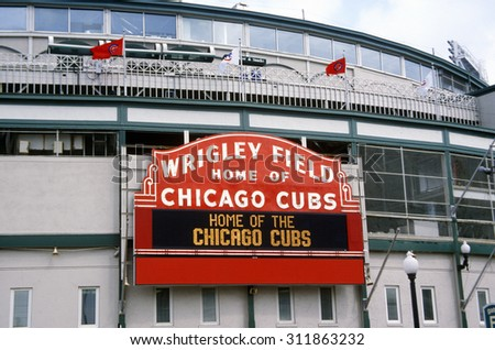 Close-up of signage at Wrigley Field, Illinois, home of Chicago Cubs - stock photo
