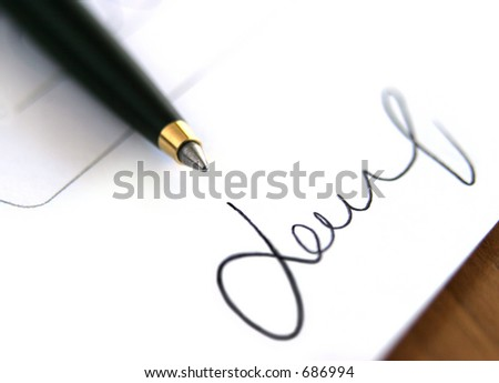 close up of signature - stock photo