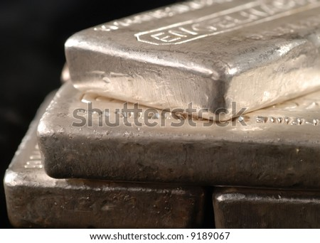 close-up of silver bars - stock photo