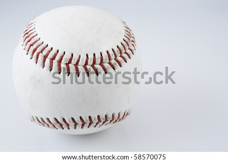 Close up of single baseball on white background. - stock photo