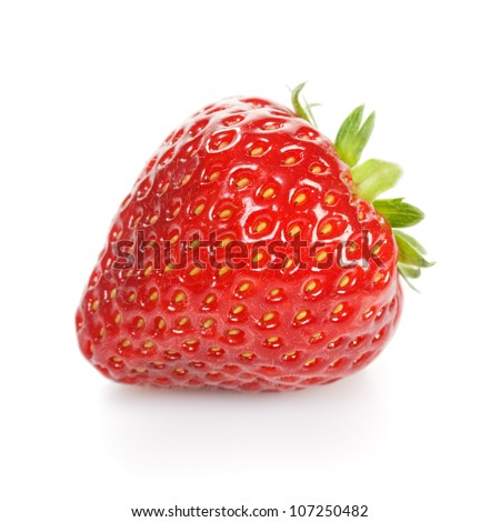 Close-up of single strawberry on white background - stock photo