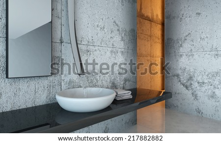 Close Up of Sink and Counter in Modern Bathroom Decorated in Minimalistic Style - stock photo