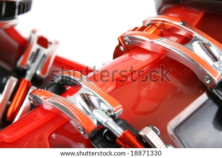Close up of ski boots