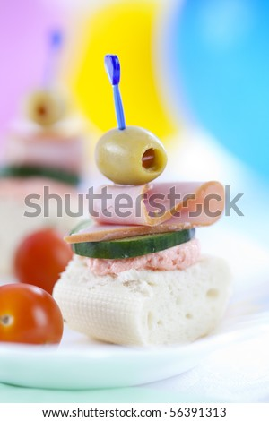 Close up of slam sandwiches of french roll and some veggies - stock photo