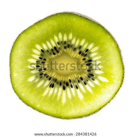 Close Up of Slice of Kiwi - stock photo