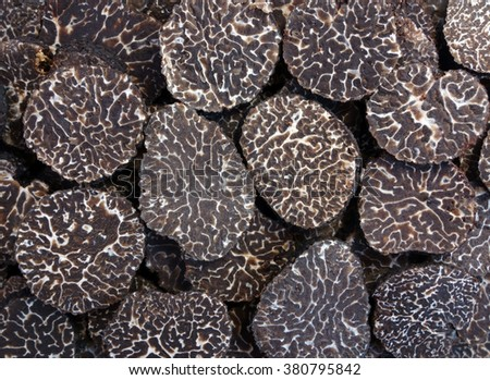 close up of sliced black truffles