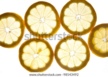 Close up of sliced pieces of lemon