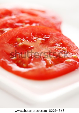 Close up of sliced tomato on the plate