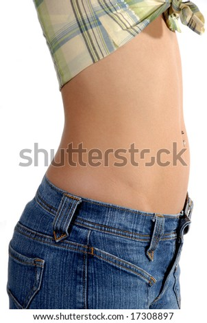 Close-up of slim, active, stomach of a very beautiful  model.