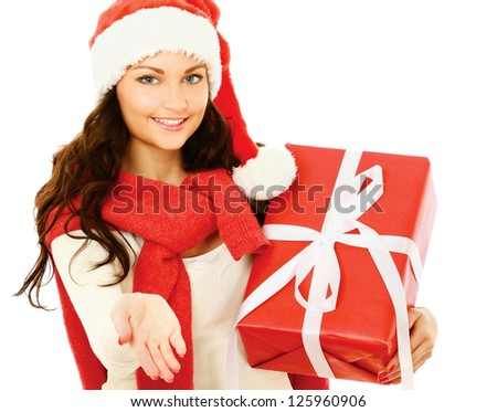 Close-up of smiling woman with gift isolated on white background
